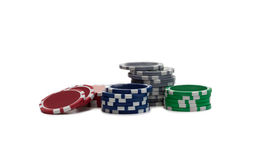 Gambling chips over white Stock Photography
