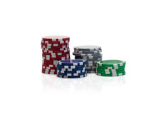 Gambling chips over white Stock Images