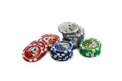 Gambling chips over white Royalty Free Stock Images