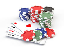 Gambling Chips And Playing Cards Royalty Free Stock Photography