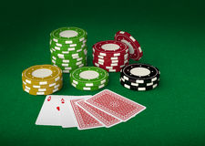 Gambling chips and playing cards 3d Royalty Free Stock Image