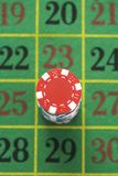 Gambling Chips On Roulette Table Royalty Free Stock Photography