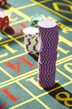 Gambling Chips on Roulette Table close up Stock Photography