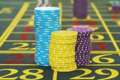 Gambling Chips on Roulette Table close up Royalty Free Stock Image
