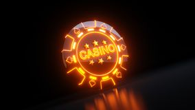 Gambling Chips in Spades Symbol Concept With Neon Lights - 3D Illustration royalty free stock images