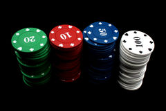 Gambling Chips Stacks Stock Images