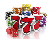 Gambling. Concept with casino chips, dices and slot machine 777's Royalty Free Stock Images