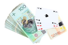 Gambling concept. Playing cards aces and money Stock Image