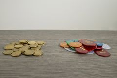 Gambling concept, saving money or hazard with euro coins and chi. Ps composition royalty free stock photo