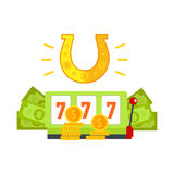 Gambling Conceptual Vector in Flat Design. Gambling concept vector banner in flat style. Horseshoe, slot machine with sevens, dollar bills and gold coins Stock Images