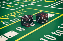 Gambling, craps game. Close up view of a craps table with dices (3d render Stock Photos