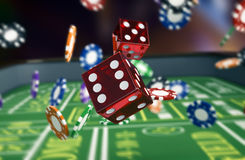 Gambling, craps game. Close up view of a craps table with dices and fiches (3d render Stock Image