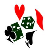 Gambling with dice and cards. Red and black Graphic of two die or dice and a heart spade diamond and club representing playing cards Stock Image