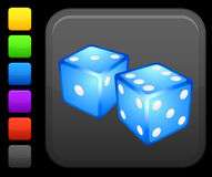 Gambling dice icon on square internet button Stock Photography