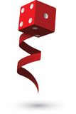 Gambling Dice with Ribbon. Dice and ribbon rendered on white background Stock Photo