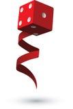 Gambling Dice with Ribbon Stock Photo