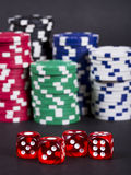 Gambling dices and chips stack Royalty Free Stock Image