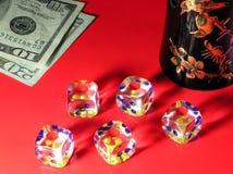 Gambling and dollars. Gambling in red casino Stock Photos
