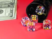 Gambling and dollars. Gambling in red casino Royalty Free Stock Image