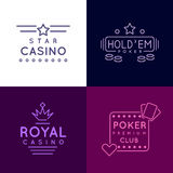 Gambling emblems of Poker club and casino. Vector icons set in line style Stock Images