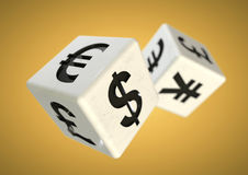 Gambling on the finacial currency market. Financial advise conce. 2 dice with currency symbols rolling isolated on background. Concept for financial advice when stock photography