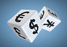 Gambling on the finacial currency market. Financial advise conce. 2 dice with currency symbols rolling isolated on background. Concept for financial advice when royalty free stock photos