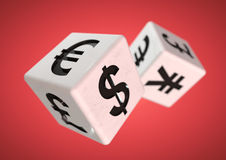 Gambling on the finacial currency market. Financial advise conce. 2 dice with currency symbols rolling isolated on background. Concept for financial advice when stock photos