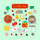 Gambling flat icons set Stock Photo