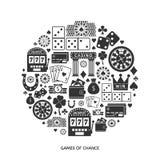 Gambling flat icons set Royalty Free Stock Images
