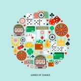 Gambling flat icons set Royalty Free Stock Image