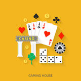 Gambling flat icons set Royalty Free Stock Photos