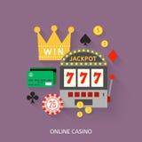 Gambling flat icons set Stock Image
