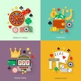 Gambling flat icons set Royalty Free Stock Photography