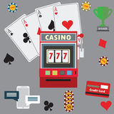 Gambling flat icons set. Casino concept collection. Royalty Free Stock Photo