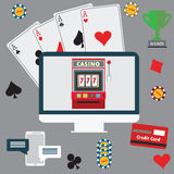 Gambling flat icons set. Casino concept collection. Royalty Free Stock Image