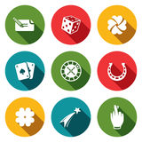Gambling and fortune icon collection Stock Photography