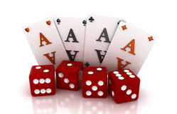 Gambling, four cards and four cubes Stock Images