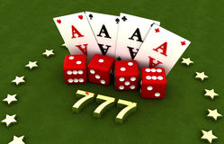 Gambling, four cards and four cubes, stars, seven Royalty Free Stock Photo