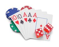 Gambling. Playing Cards With Dice and Casino Chips Isolated on White Background stock photos