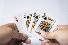 Gambling. Game card poker isolated stock photography