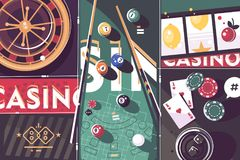 Gambling game casino abstract background. Roulette and billiard, poker and slot machine. Vector illustration Stock Photos