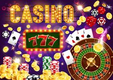 Gambling games and casino, roulette and poker. Casino dice and poker, king slots 777 vector. Coins and four aces, golden chips and roulette wheel. Gambing game vector illustration