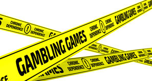 Gambling games. Chronic dependence. Yellow warning tapes. Yellow warning tapes with inscription `GAMBLING GAMES. CHRONIC DEPENDENCE`. Isolated. 3D Illustration Stock Image