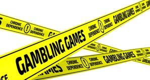 Gambling games. Chronic dependence. Yellow warning tapes Stock Image