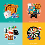 Gambling games 4 flat icons square Royalty Free Stock Photos
