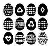 Gambling and geometric symbols on Easter eggs. Silhouettes of black Easter eggs isolated on white background. Template, Print. Design, sticker, scrap booking royalty free illustration