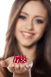 Gambling girl Royalty Free Stock Photo