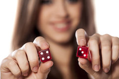 Gambling girl Stock Images