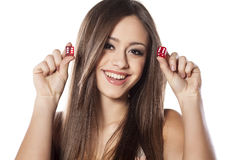 Gambling girl Royalty Free Stock Photography
