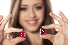 Gambling girl Royalty Free Stock Image